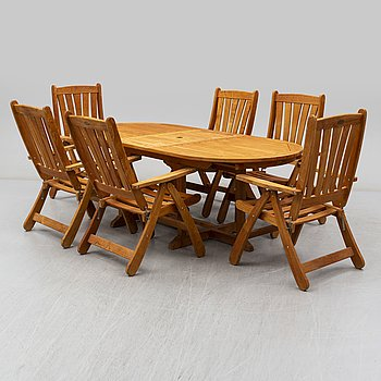 A set of six garden chairs and table from Brafab, 20th/21th century.