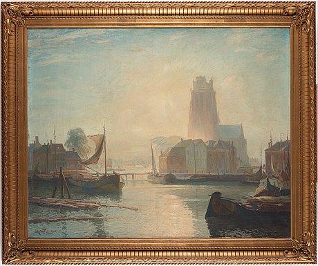 Gustave (gustaf) albert, the harbour in dordrecht