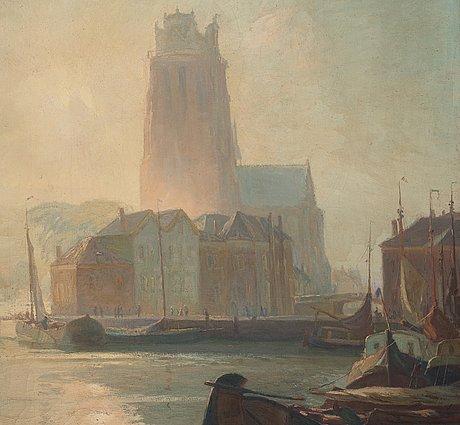 Gustave (gustaf) albert, the harbour in dordrecht.