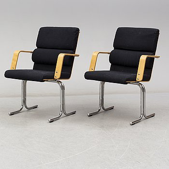 YRJÖ KUKKAPURO, armchairs, a pair, Avarte, Finland, late 20th century. Signed with label.