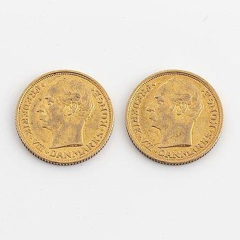 FREDERIK VIII, guldmynt 2 st, 10 kroner, 1908.