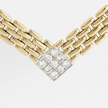 COLLIER, 18K guld med briljantslipade diamanter.