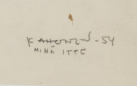 Kosti ahonen, blyertsteckning, signerad och daterad  54