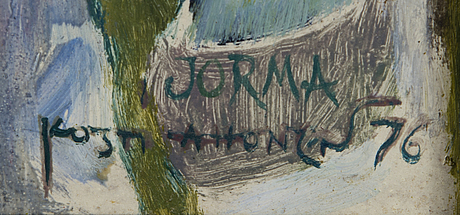 Kosti ahonen, oil on board, signed and dated -76.