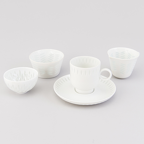 A 13 piece porcelain coffee set, arabia, latter half and end of the 20th century. three pcs by friedl holzer kjellberg