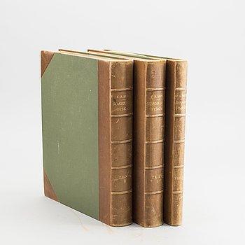 """WILHELM VON WRIGHT, 3 vol """"Skandinaviens fiskar"""" Stockholm P. A. Norstedt & söners Förlag Stockholm 1895."""