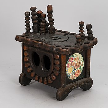 KOSTI AHONEN, table, wood, enlarging mirror, signed.