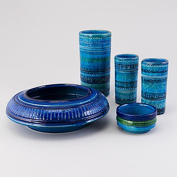 ALDO LONDI, Five 1960s ceramic items, Bitossi, Italy.