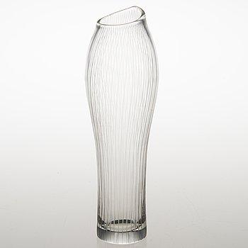 TAPIO WIRKKALA, A line cut glass vase, signed Tapio Wirkkala Iittala 3215.