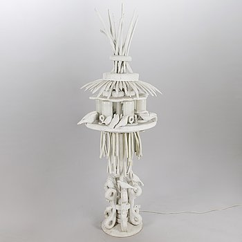 KOSTI AHONEN, sculpture/lamp, wood, glass, signed and dated 1986.