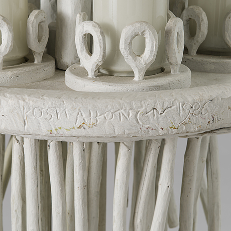 Lampa, trä, glas, signerad och daterad 1986