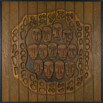 KOSTI AHONEN, relief, painted wood, signed and dated -72.
