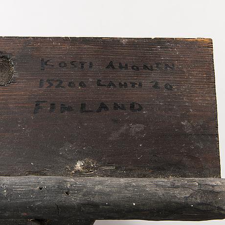 Kosti ahonen, sculpture, wood, signed.
