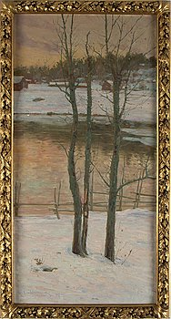 EDVARD WESTMAN, oil on canvas, signed Edv. Westman and dated Jungfruskär Jan 1907.