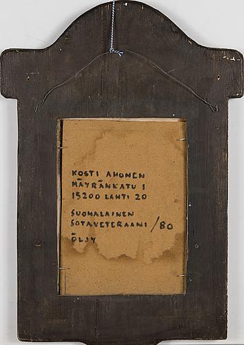 Kosti ahonen, olja på masonit, trärelief, signerad och daterad  80