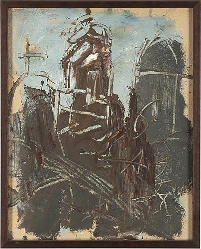 Anatole zverev, olja på pappannå, signerad med kyrillska initialer az.