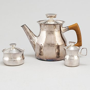 ERIK LÖFMAN, a silver three-piece coffee service from MGAB, Uppsala, 1971-6.
