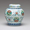 A chinese doucai chrysanthemum medallion jar with cover, 20th century, presumably republic.