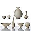Berndt friberg, a set of 4 miniature vases and 4 bowls, gustavsberg studio, sweden 1960-63.