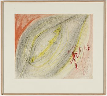 EDDIE FIGGE, mixed media on paper, signed and dated 1972.