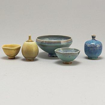 BERNDT FRIBERG, 5 miniature stoneware vases/bowls, Gustavsberg.