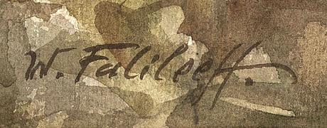 Vadim falileieff, akvarell. signerad.
