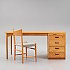 Hans j wegner, skrivbord samt stol, för Århus rådhus, plan møbler, danmark 1941.