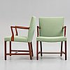 "Hans j wegner, a pair of model ""a422"" chairs for plan møbler, denmark 1940's."