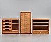 Hans j wegner, a set of 3 storage units for plan møbler, denmark 1940-50's.