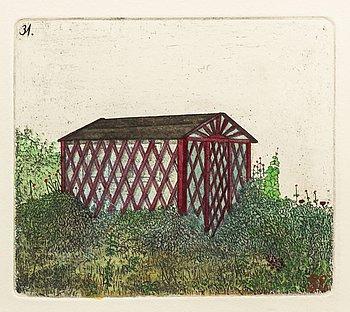 STEN EKLUND, hand colored etching, signed.