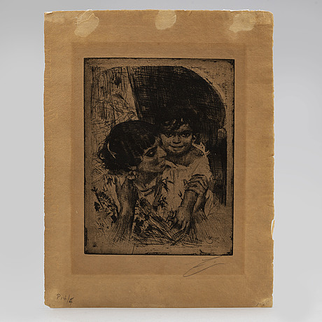 Anders zorn, etching, 1882, only state, signed in pencil.