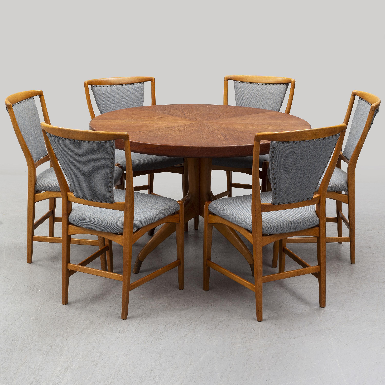 Groovy A Teak And Beech Dining Table And 6 Chairs Mid 20Th Century Customarchery Wood Chair Design Ideas Customarcherynet