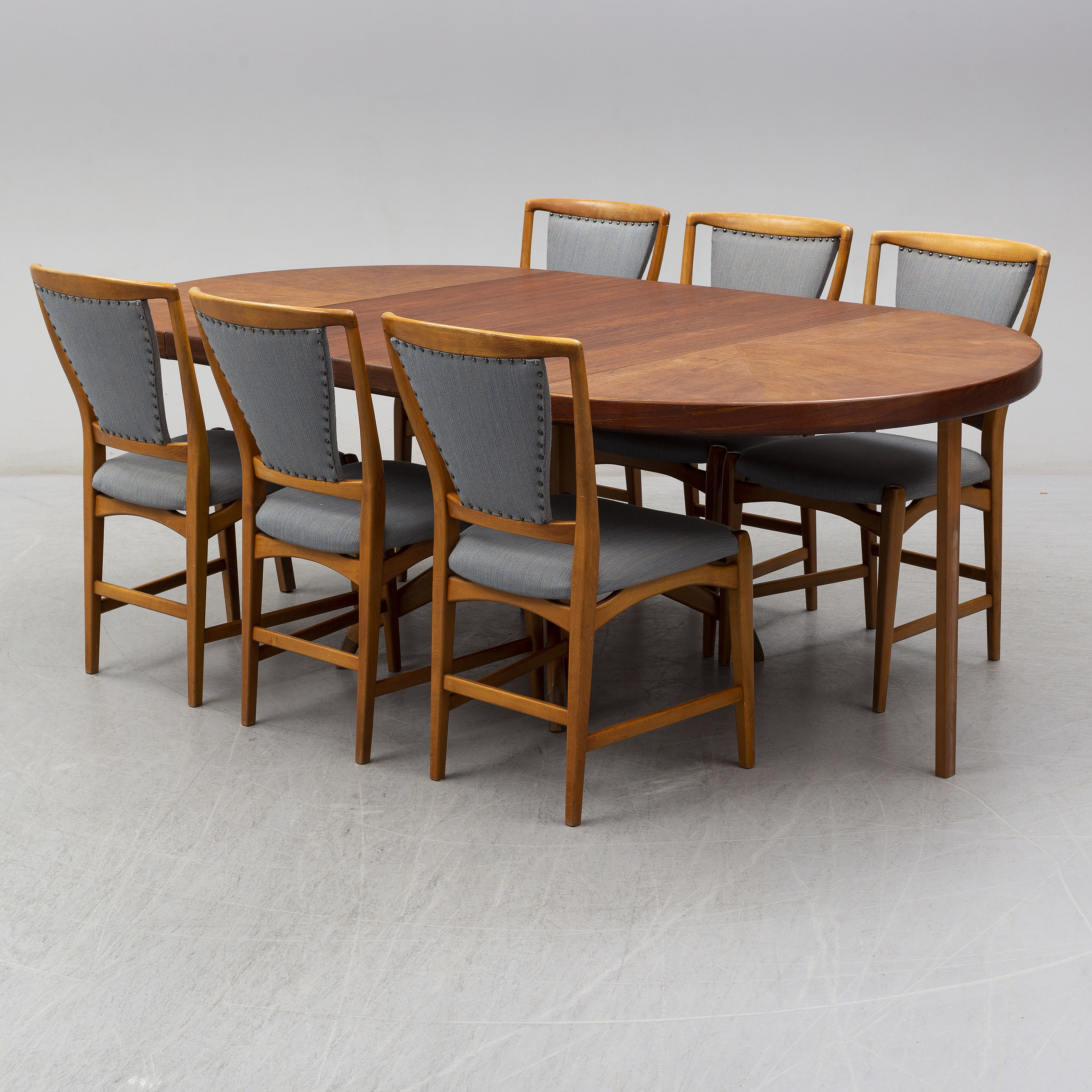 Tremendous A Teak And Beech Dining Table And 6 Chairs Mid 20Th Century Customarchery Wood Chair Design Ideas Customarcherynet
