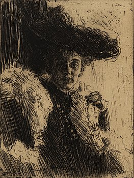ANDERS ZORN, etching, 1904, I state of I, signed with pencil.