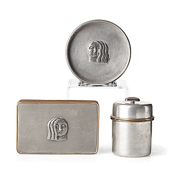 253. Firma Svenskt Tenn, Anna Petrus & Estrid Ericson, a pewter and brass box, a dish and a jar with cover, Stockholm 1927, 1930 and 1959.