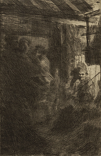 Anders zorn, etching, 1917, iii state of iii, signed in pencil