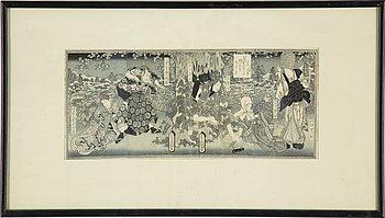 UTAGAWA KUNISADA (TOYOKUNI III) (1786–1864), six sheets from book, color woodblock prints, Japan, 19th century.