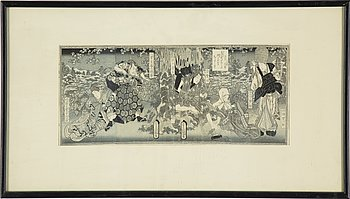 UTAGAWA KUNISADA (TOYOKUNI III) (1786–1864), ALBUMBLAD från BOK, sex blad, färgträsnitt. Japan, 1800-tal.