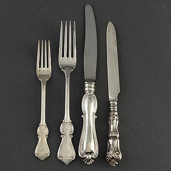 CUTLERY, 35 pieces, silver, 19th and 20th century.