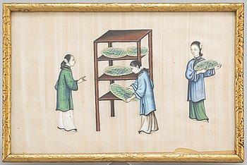 MÅLNING, akvarell på rispapper. Kina, 1900-tal.