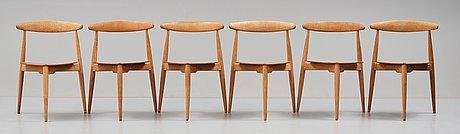 "Hans j wegner, a ""heart set"", a dining table with six chairs, fritz hansen, denmark 1950's."