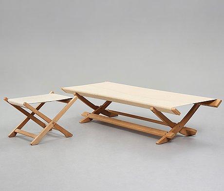 Hans j wegner, a daybed and a stool for johannes hansen, denmark 1964.