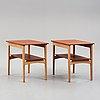 Hans j wegner, a pair of teak and oak side tables, johannes hansen, denmark, 1950's.