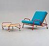 """Hans j wegner, fåtölj, med fotpall, """"ge 440"""" utställningsexemplar för getama, danmark 1968-69."""