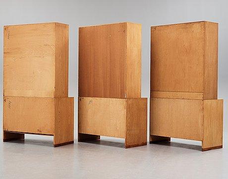 "Hans j wegner, bokhyllor, tre sektioner, ""ry8"" ry møbler, danmark 1950-tal."