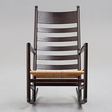 "Hans j wegner, a ""ch45"", black lacquered rocking chair, a prototype for carl hansen & søn, denmark, 1960's."
