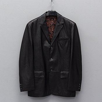 VERSACE, a leather jacket, italian size 52.
