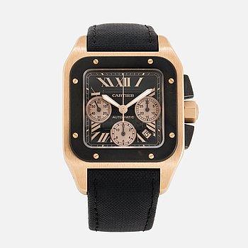 CARTIER, Santos 100, chronograph, wristwatch, 41,5 x 41,5 (55) mm.