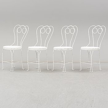 A set of four garden chairs, 20th Century.