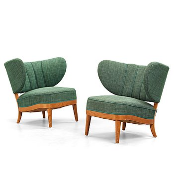 237. Otto Schulz, a pair of upholstered easy chairs, Boet, 1940's.